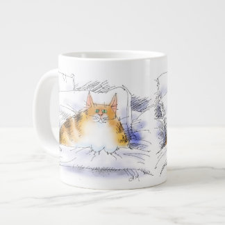 cat in bed giant coffee mug
