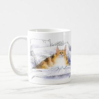 Cat in bed coffee mugs