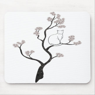 Cat in Cherry Blossom Tree Mouse Pad