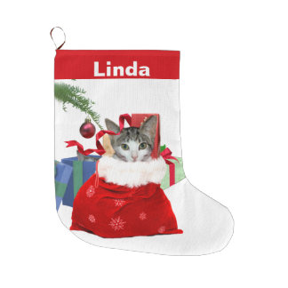Cat in Christmas Bag with Presents, Customizable Large Christmas Stocking