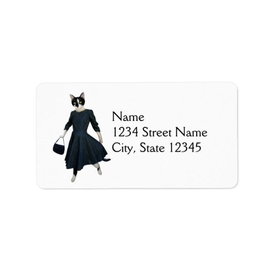 Cat in Dress Address Label