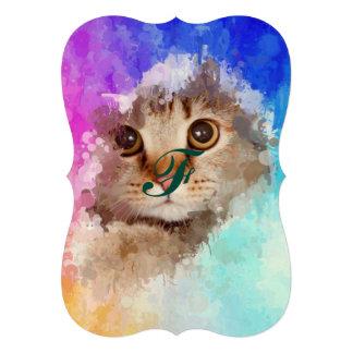 Cat in drip paint abstract art, modern trendy fun card