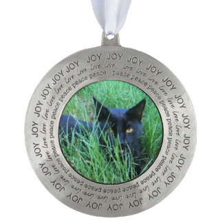 Cat-in-Grass Photo Round Pewter Christmas Ornament