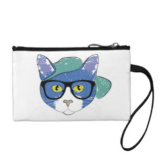 Cat in Hat with Spectacles Fun Key Coin Clutch Coin Purses