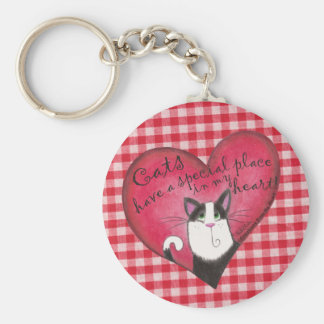 Cat in Heart with red and white gingham background Basic Round Button Key Ring