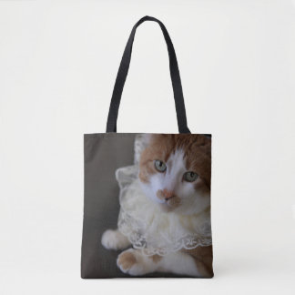 Cat in lacy collar tote bag
