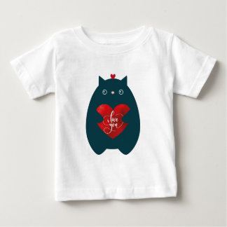 Cat In Love, Cute Kitten Valentine Day Baby T-Shirt