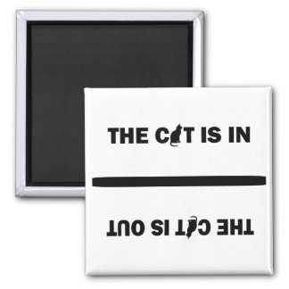 Cat In/Out Square Magnet