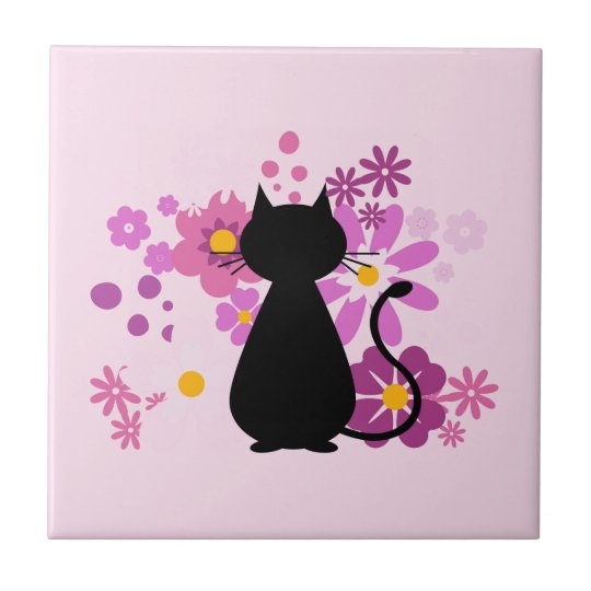 Cat in Pink Flowers Ceramic Tile