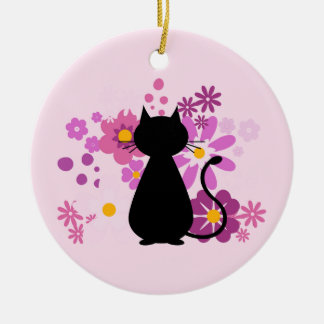 Cat in Pink Flowers Circle Ornament Dble-Sided