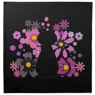 Cat in Pink Flowers Cloth Napkins