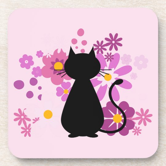 Cat in Pink Flowers Coaster Set