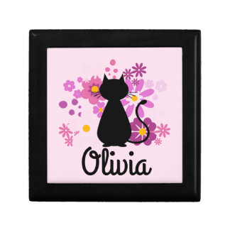 Cat in Pink Flowers Customise Jewellery/Gift  Box