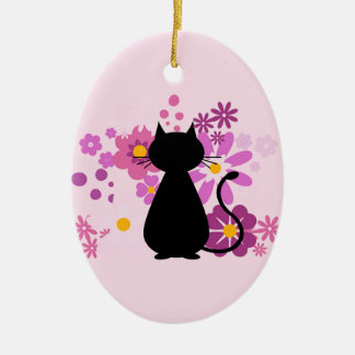 Cat in Pink Flowers Dble-Sided Oval Ornament