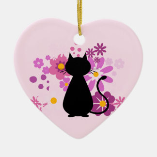Cat in Pink Flowers Heart Ornament Dble-sided