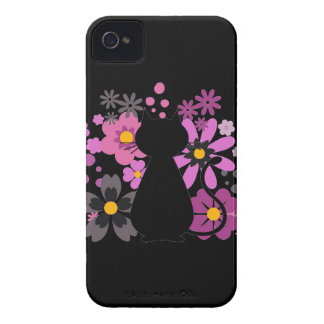 Cat in Pink Flowers IPhone4 Barely There Case