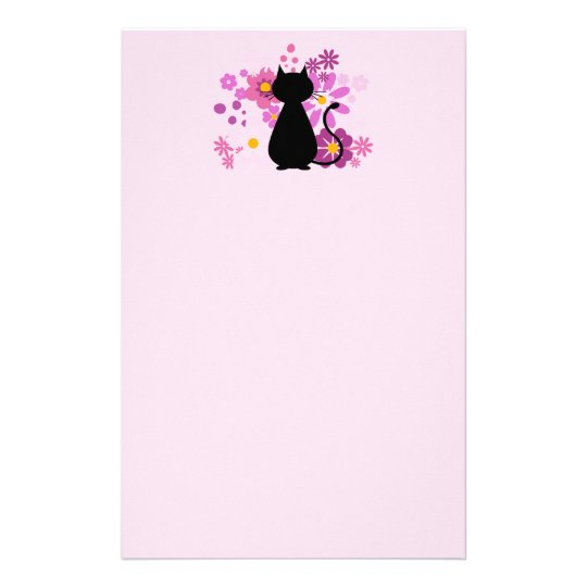 Cat in Pink Flowers Letterhead