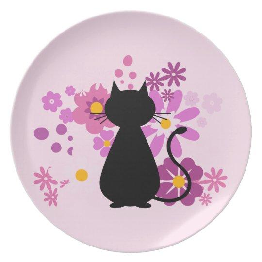 Cat in Pink Flowers Melamine Plate