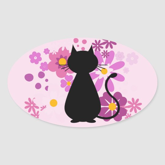 Cat in Pink Flowers Oval Stickers