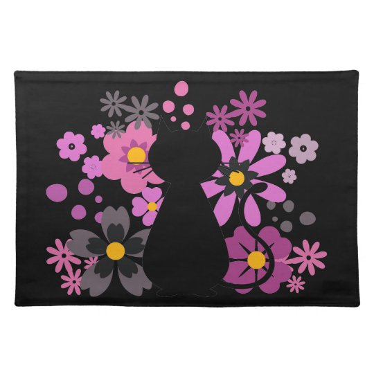 Cat in Pink Flowers Placemat