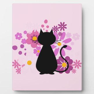 Cat in Pink Flowers Plaque with Easel