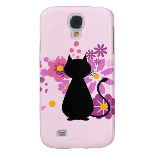 Cat in Pink Flowers Samsung Galaxy S4 Case
