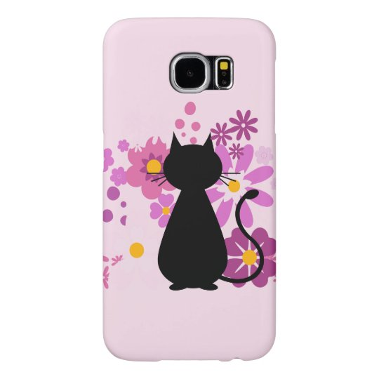 Cat in Pink Flowers Samsung Galaxy S6 Case