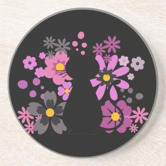 Cat in Pink Flowers Sandstone Coaster