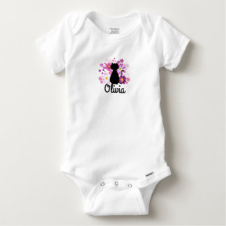 Cat in Pink Flowers Short-Sleeved Gerber Vest Baby Onesie