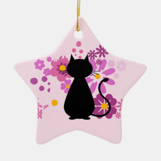 Cat in Pink Flowers Star Ornament