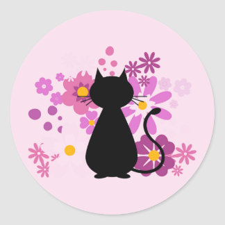 Cat in Pink Flowers Stickers (Round)