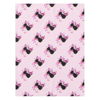 Cat in Pink Flowers Tablecloth