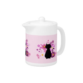 Cat in Pink Flowers Teapot