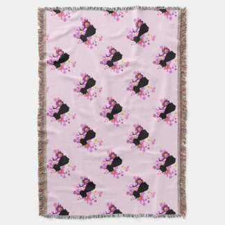 Cat in Pink Flowers Throw Blanket