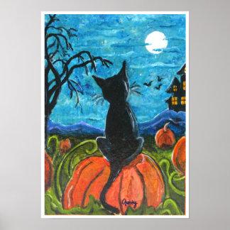 Cat in pumpkin patch poster
