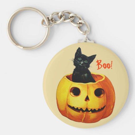 Cat in Pumpkin Vintage Halloween Keychain