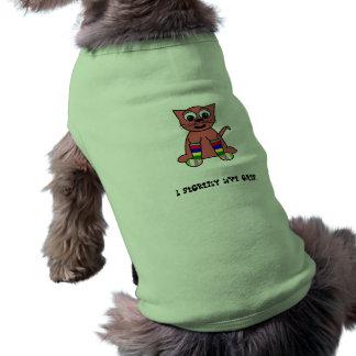 cat in rainbow socks sleeveless dog shirt