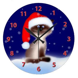 Cat in Santa Hat Large Clock