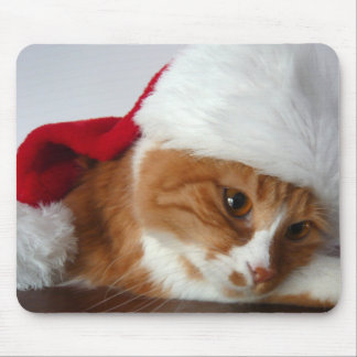 Cat in Santa Hat Mousepad