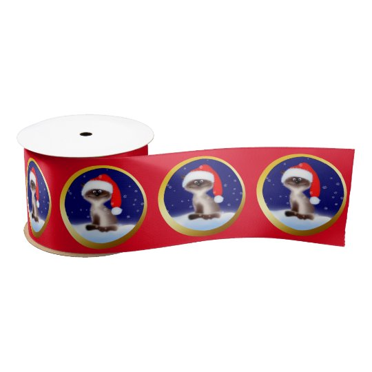 Cat in Santa Hat Satin Ribbon