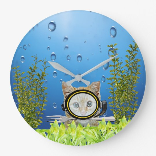 Cat In Scuba Diving Mask with Fork Underwater Large Clock