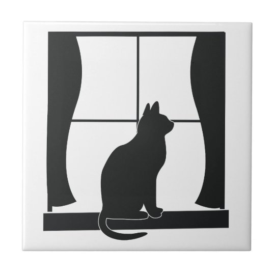 Cat in Silhouette Sitting at the Window Small Square Tile