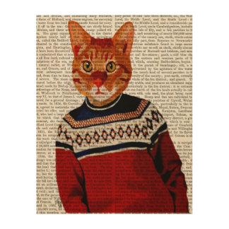 Cat in Ski Sweater Wood Print
