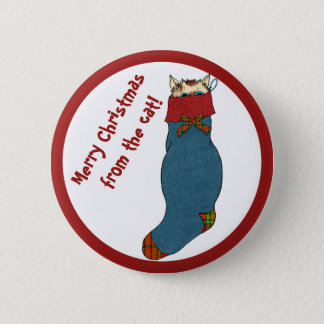 Cat in Stocking Wishes a Merry Christmas 6 Cm Round Badge