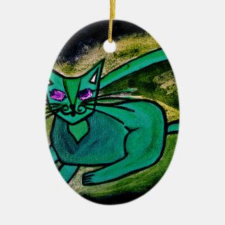 Cat in the dark ceramic oval decoration