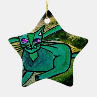 Cat in the dark ceramic star decoration