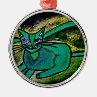 Cat in the dark christmas ornament