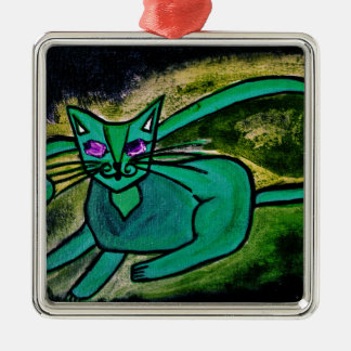 Cat in the dark christmas ornament