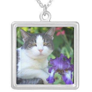 Cat in the garden square pendant necklace