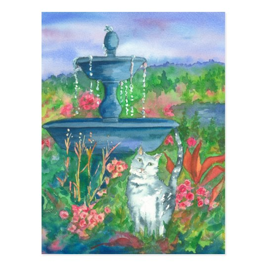 Cat in the Garden Watercolor Painting Postcard